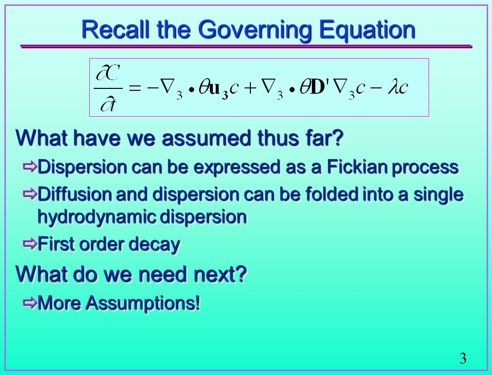Solutions to the Advection-Dispersion Equation - ppt video online