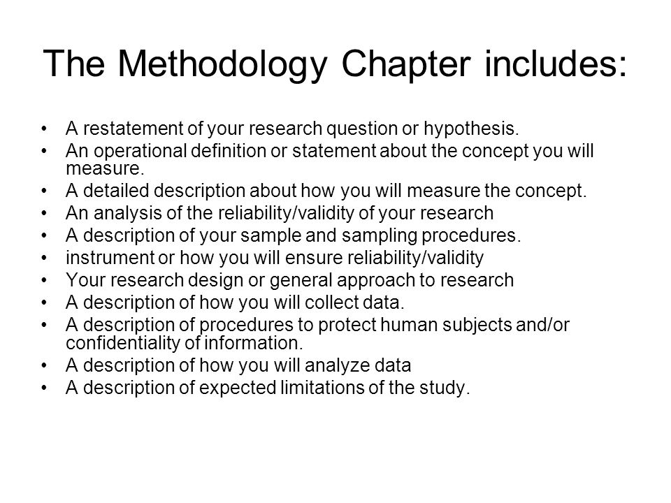 The Methodology Chapter includes: