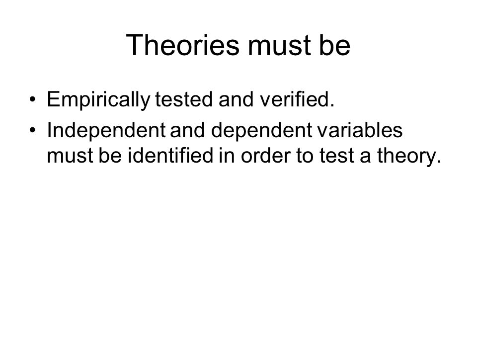 Theories must be Empirically tested and verified.