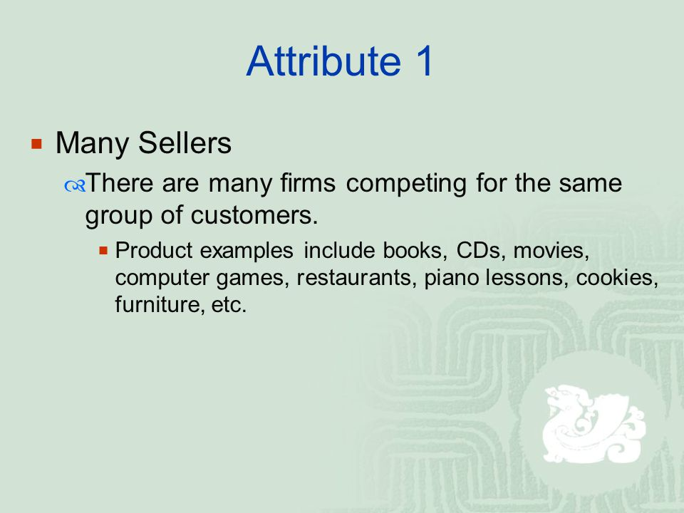 Attribute 1 Many Sellers