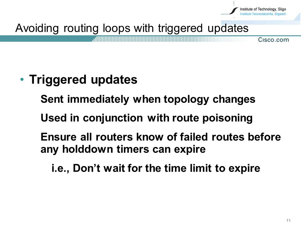 Avoiding routing loops with triggered updates