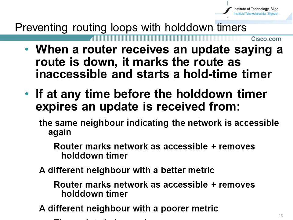 Preventing routing loops with holddown timers