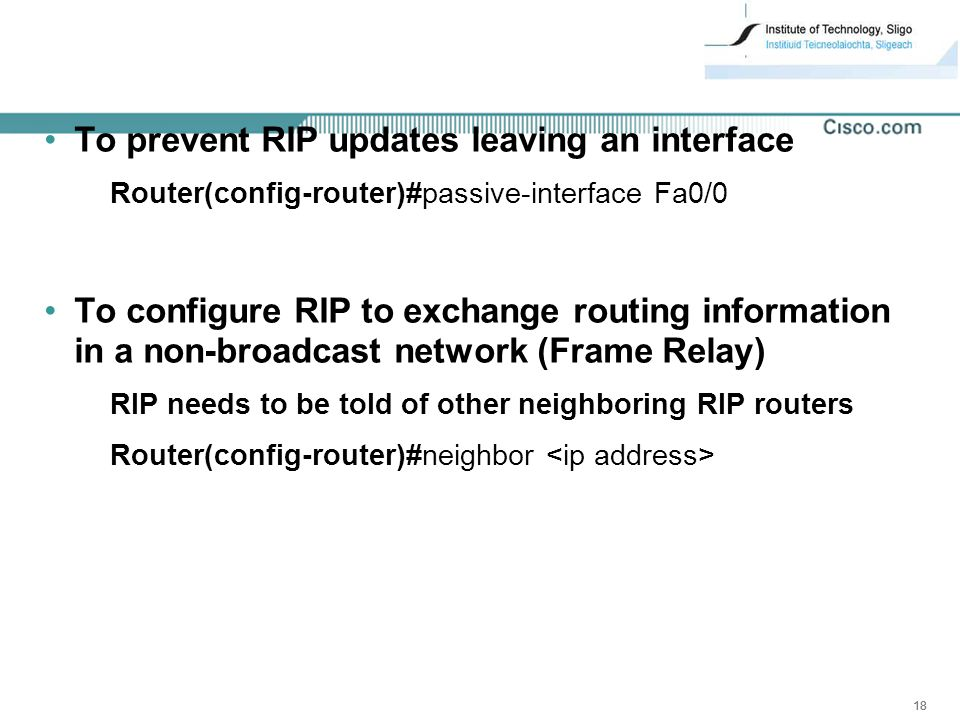 To prevent RIP updates leaving an interface