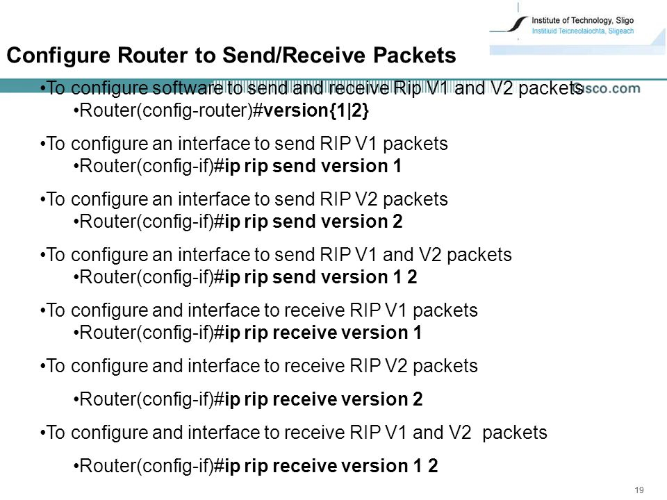 Configure Router to Send/Receive Packets