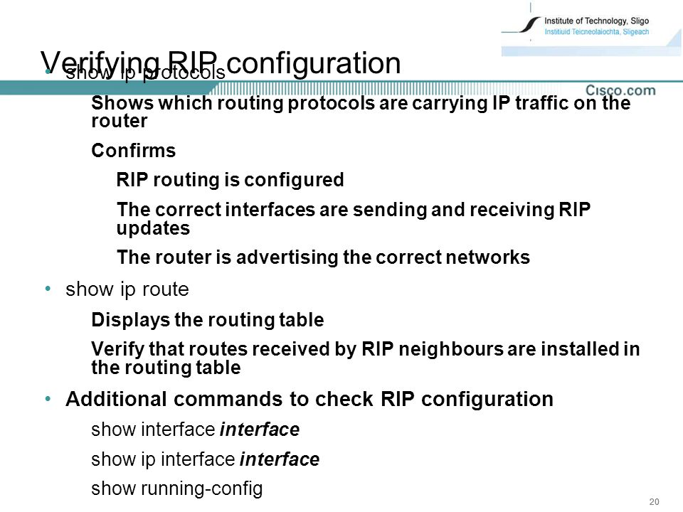 Verifying RIP configuration