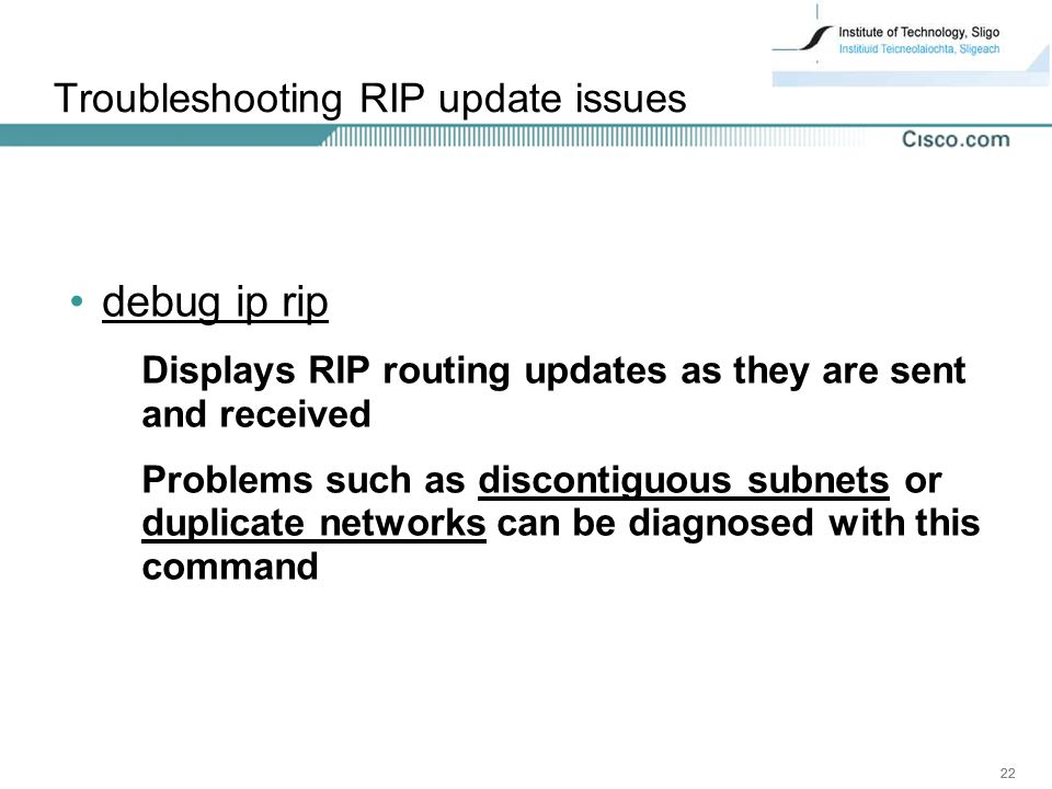 Troubleshooting RIP update issues