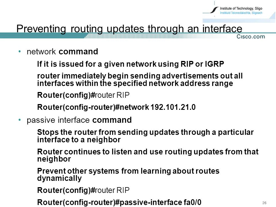 Preventing routing updates through an interface