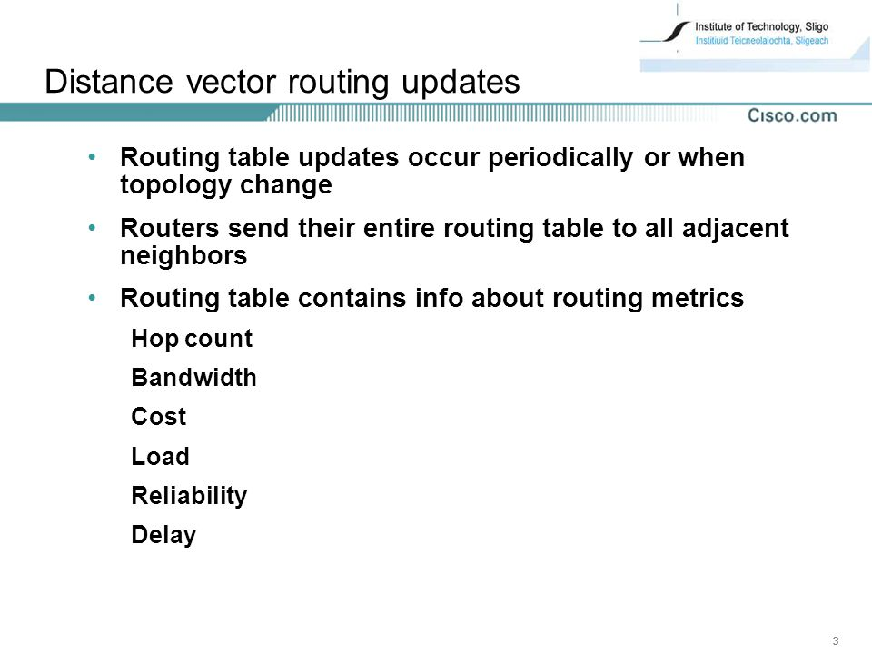 Distance vector routing updates
