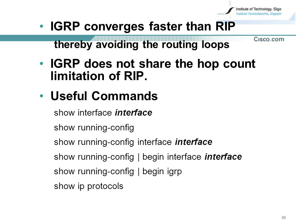 IGRP converges faster than RIP