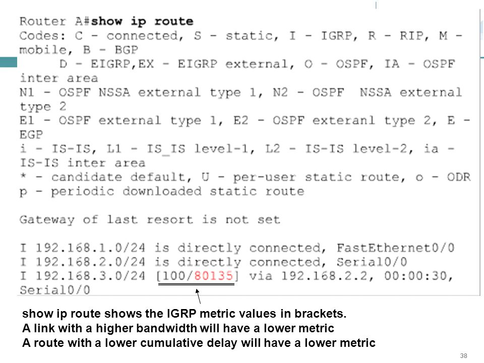 show ip route shows the IGRP metric values in brackets.