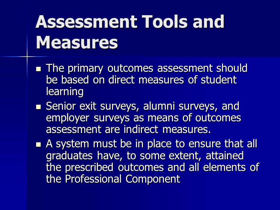 Assessment Tools and Measures