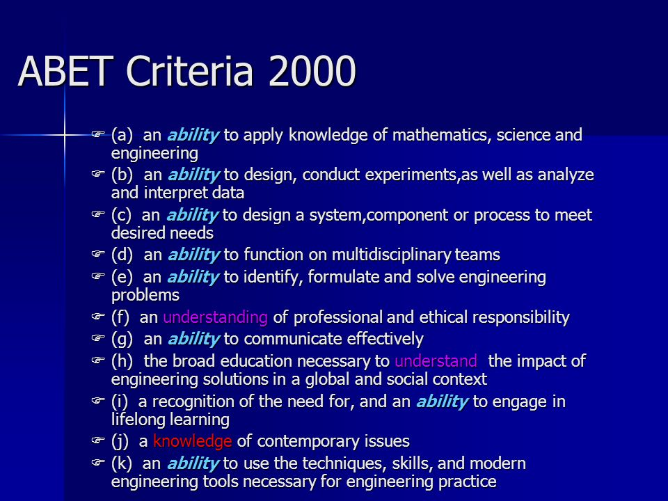 ABET Criteria 2000 (a) an ability to apply knowledge of mathematics, science and engineering.