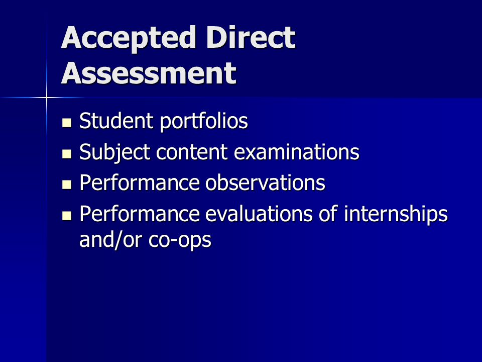Accepted Direct Assessment