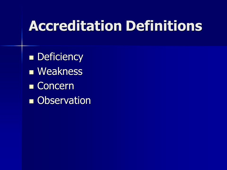 Accreditation Definitions