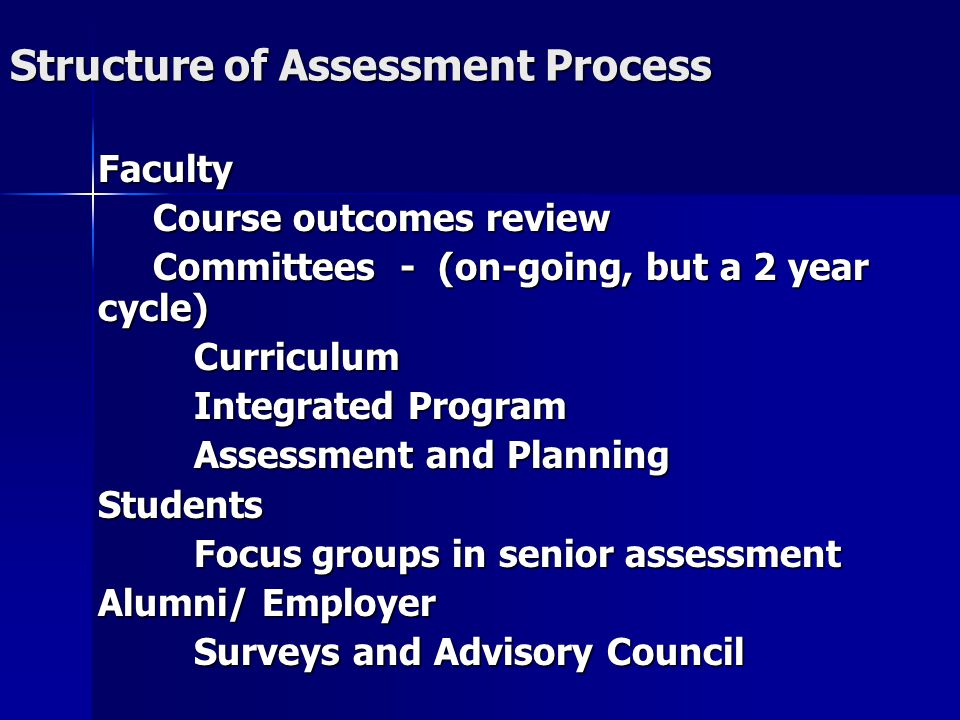 Structure of Assessment Process