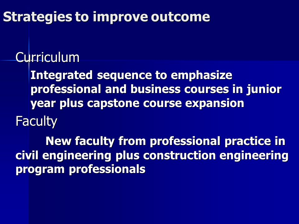 Strategies to improve outcome