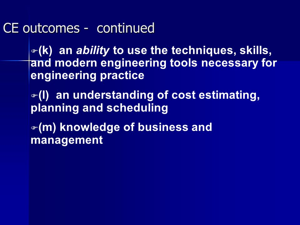CE outcomes - continued