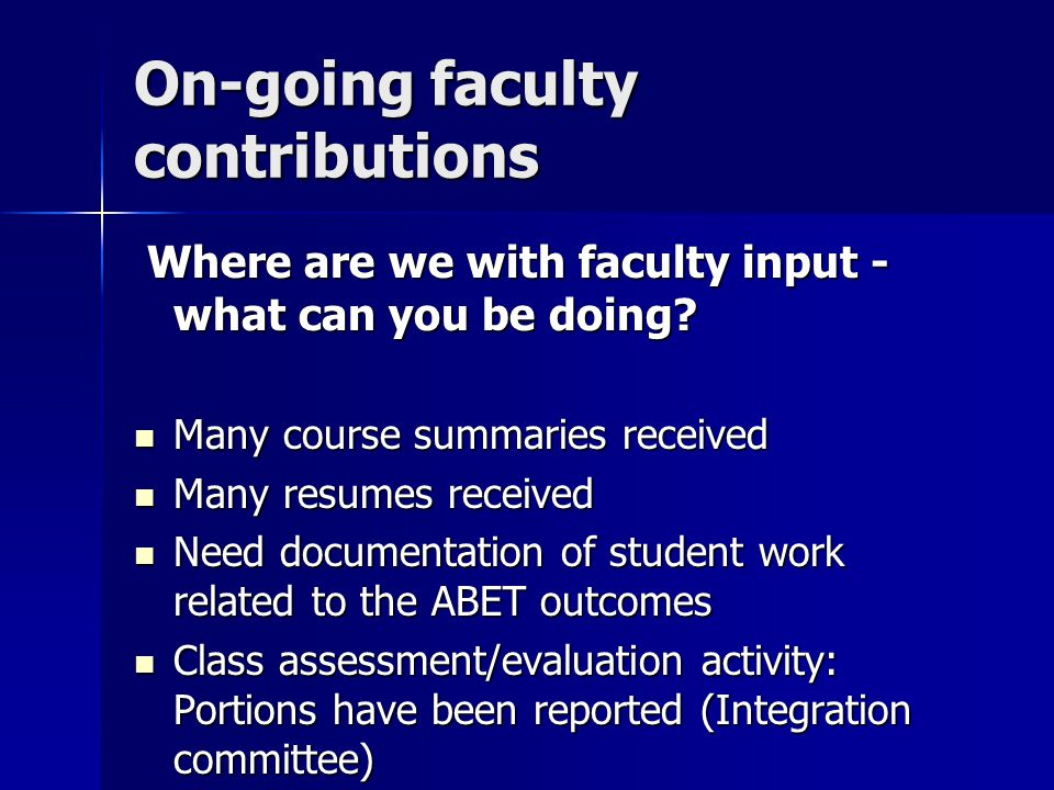 On-going faculty contributions