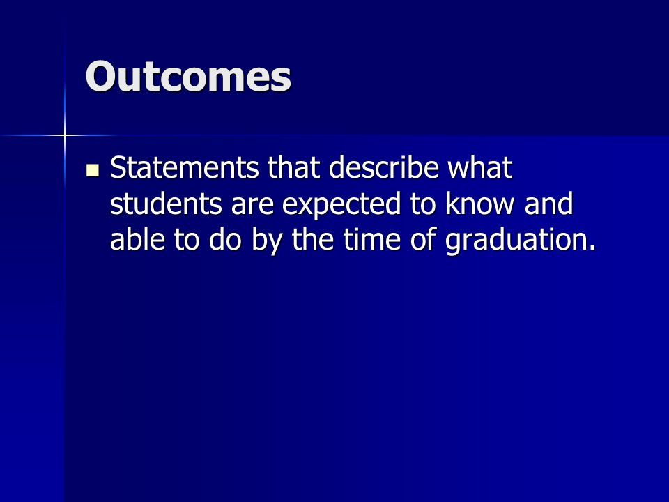 Outcomes Statements that describe what students are expected to know and able to do by the time of graduation.