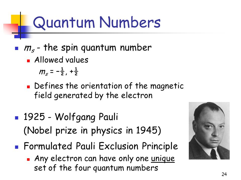 Quantum Numbers ms - the spin quantum number Wolfgang Pauli