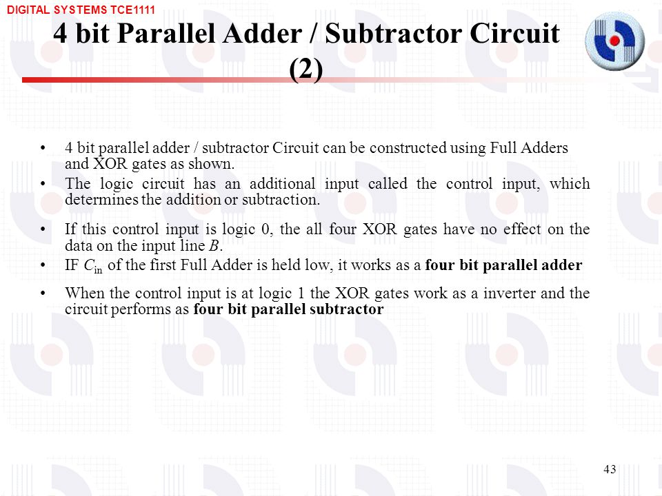 Design of Arithmetic Circuits – Adders, Subtractors, BCD ... on