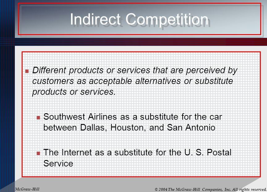 Indirect Competition Different products or services that are perceived by customers as acceptable alternatives or substitute products or services.