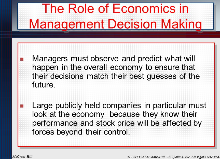 The Role of Economics in Management Decision Making