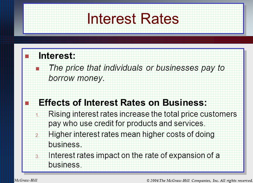 Interest Rates Interest: Effects of Interest Rates on Business: