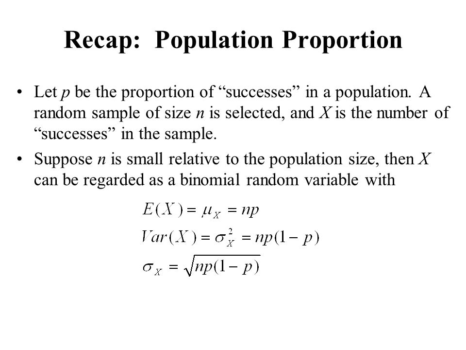 Recap: Population Proportion