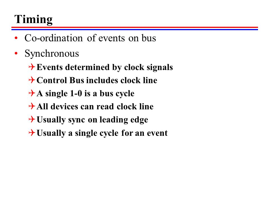 Timing Co-ordination of events on bus Synchronous