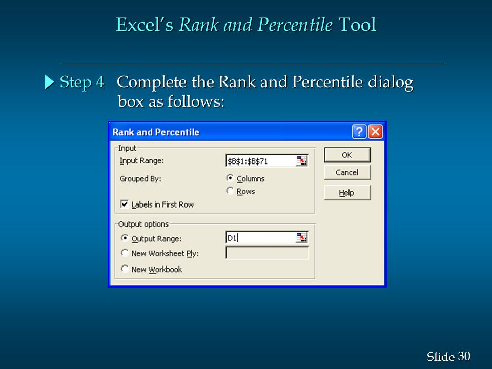 Excel's Rank and Percentile Tool