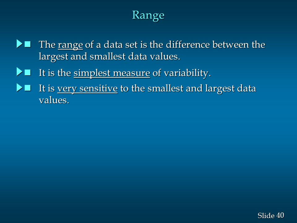 Range The range of a data set is the difference between the