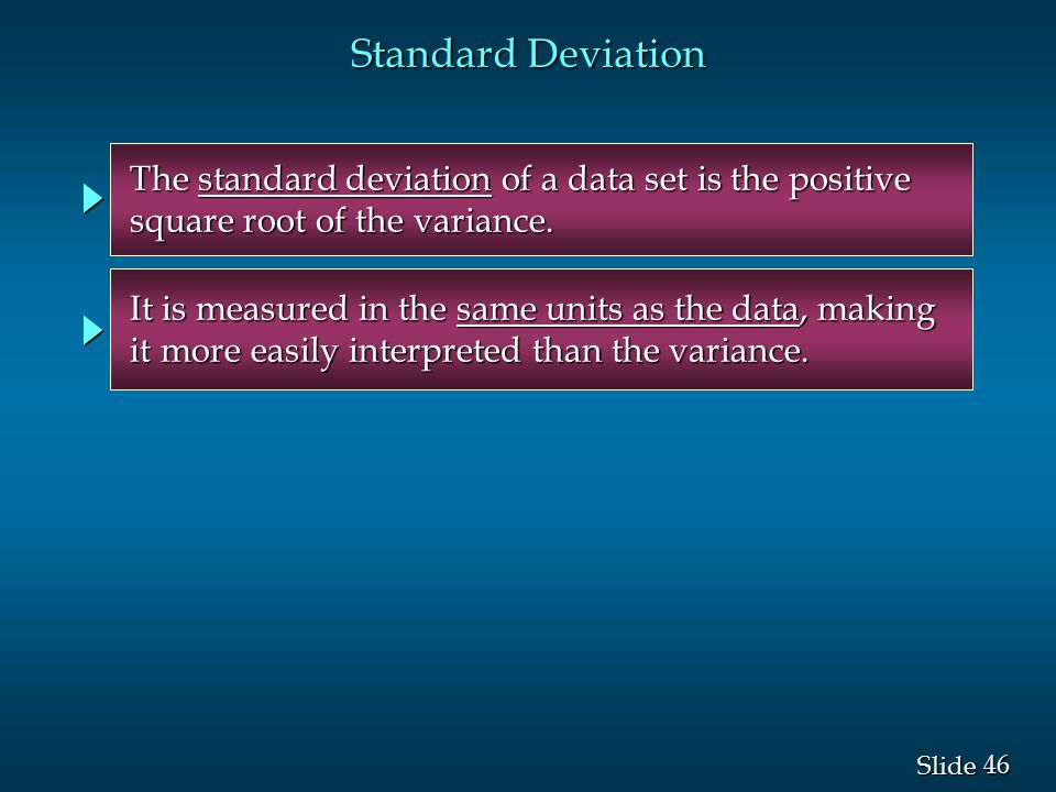 Standard Deviation The standard deviation of a data set is the positive. square root of the variance.