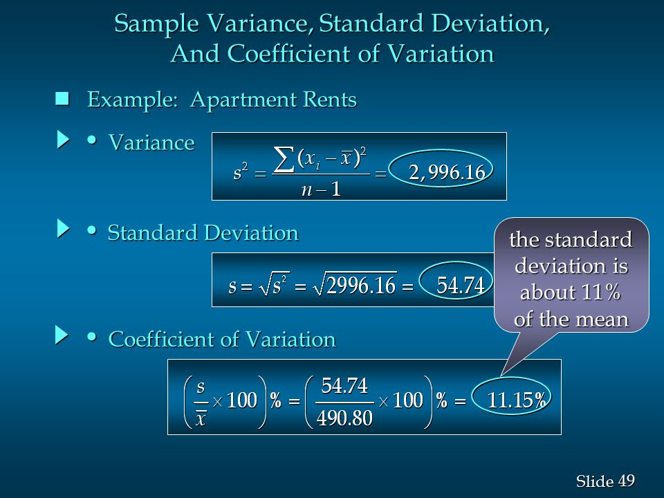 Sample Variance, Standard Deviation, And Coefficient of Variation