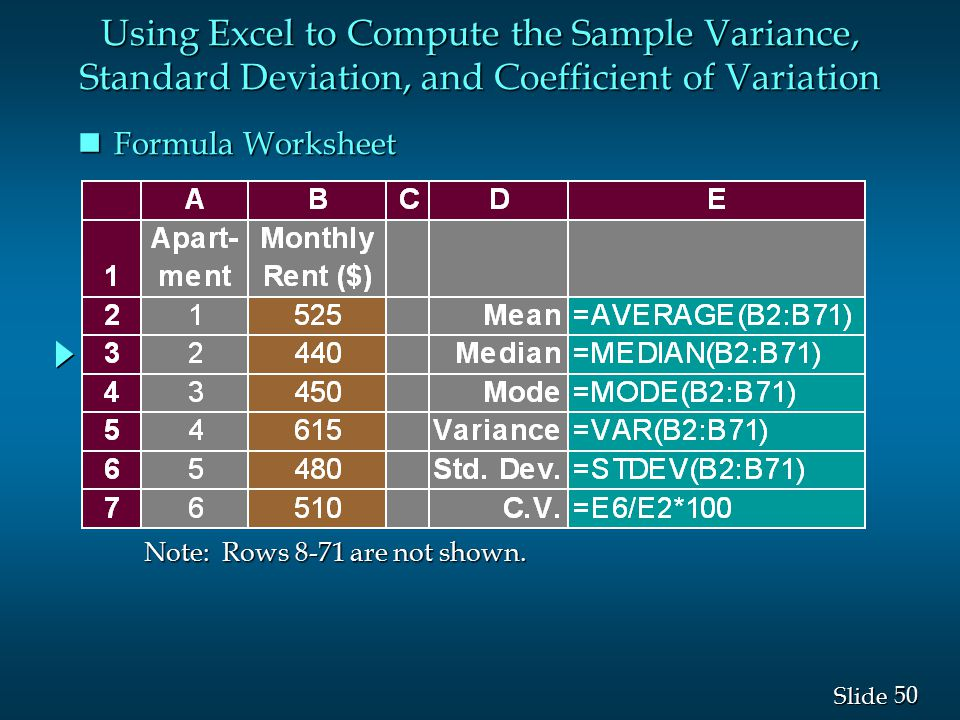 Using Excel to Compute the Sample Variance, Standard Deviation, and Coefficient of Variation