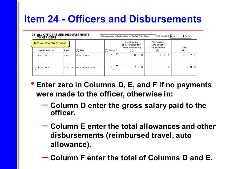 Item 24 - Officers and Disbursements