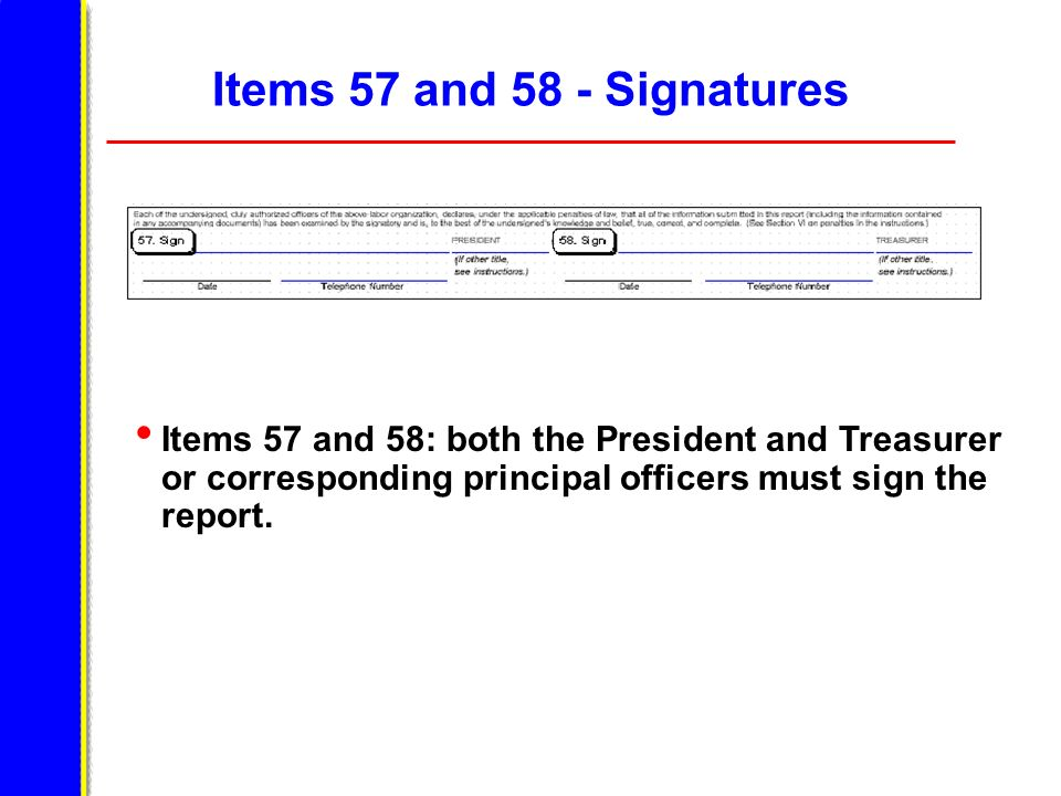 Items 57 and 58 - Signatures Items 57 and 58: both the President and Treasurer or corresponding principal officers must sign the report.