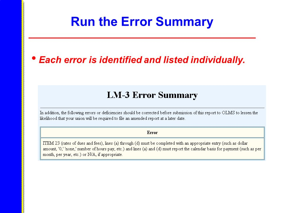 Run the Error Summary Each error is identified and listed individually.
