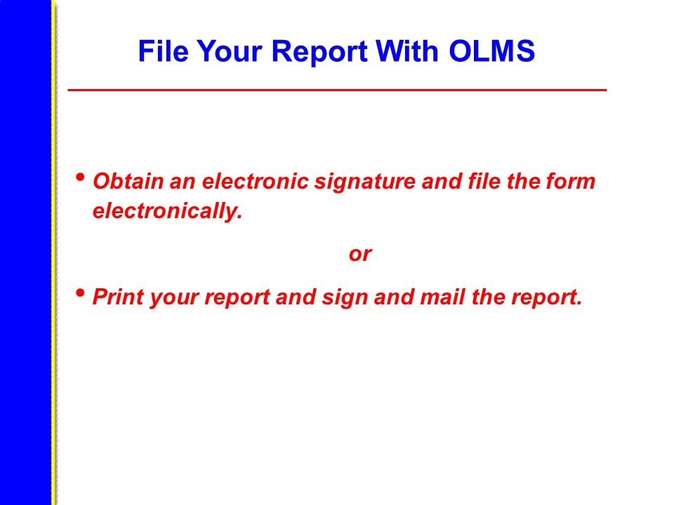 File Your Report With OLMS