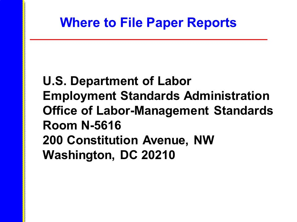 Where to File Paper Reports