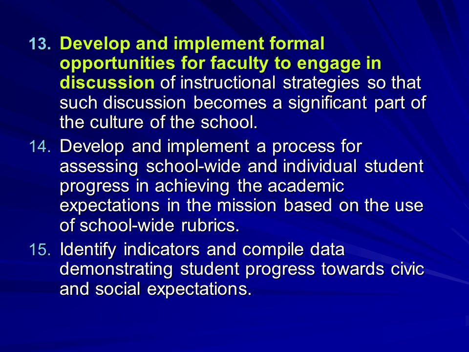 Develop and implement formal opportunities for faculty to engage in discussion of instructional strategies so that such discussion becomes a significant part of the culture of the school.