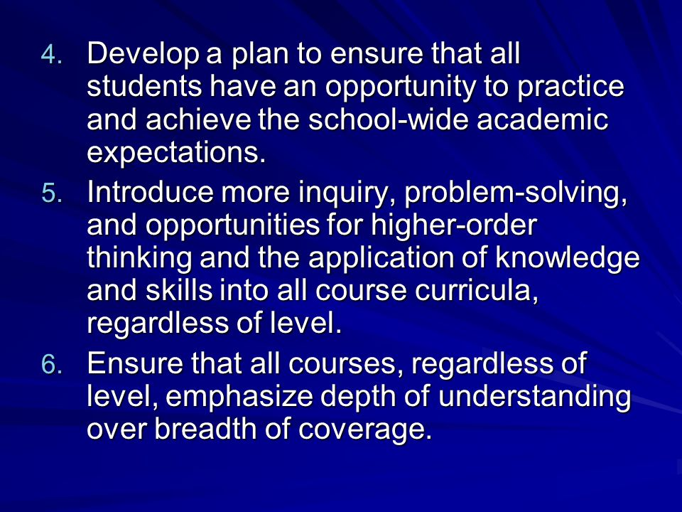 Develop a plan to ensure that all students have an opportunity to practice and achieve the school-wide academic expectations.