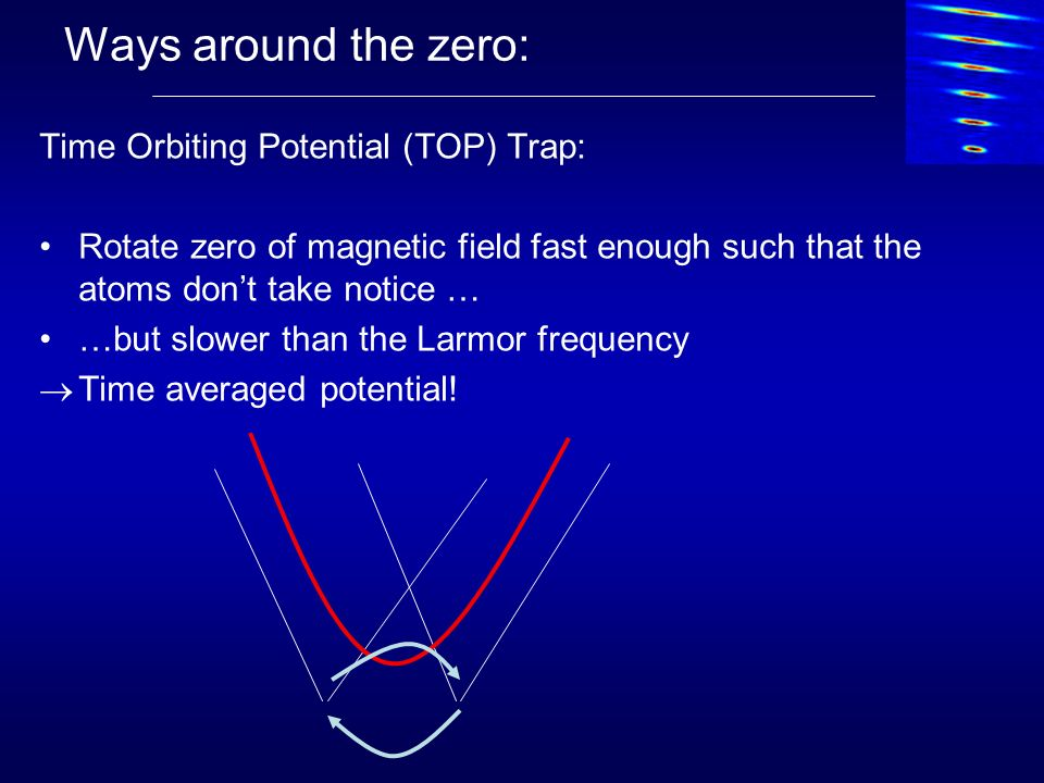 Ways around the zero: Time Orbiting Potential (TOP) Trap: