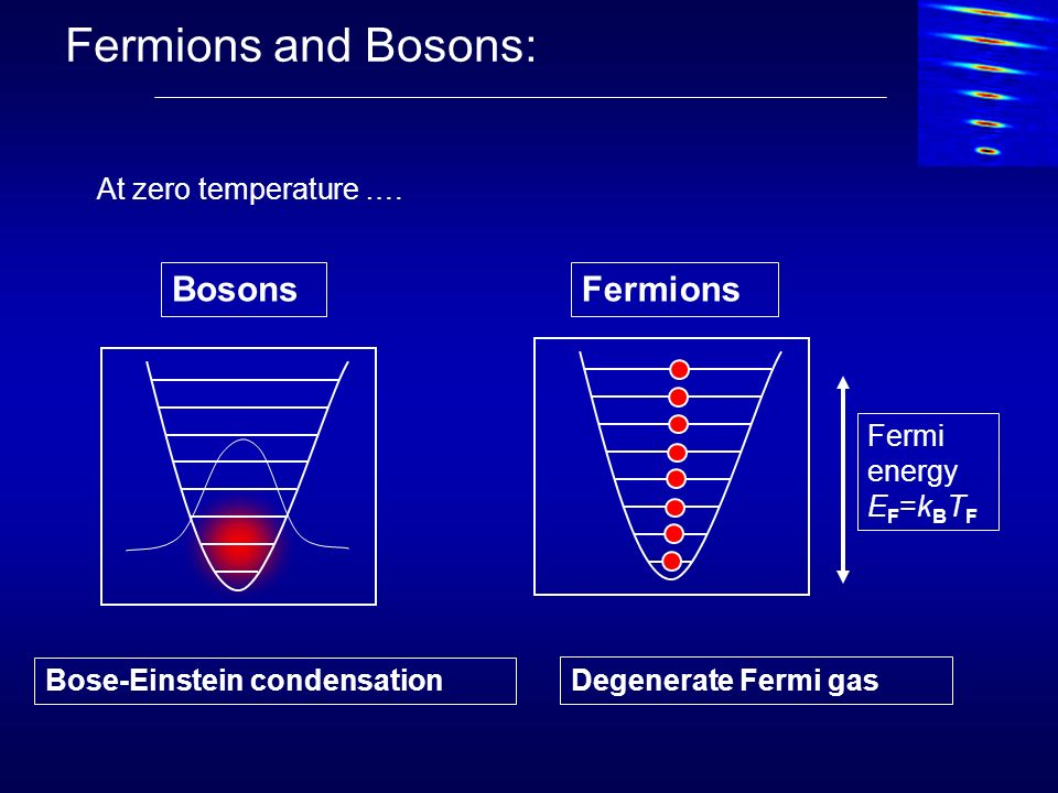 Fermions and Bosons: Bosons Fermions At zero temperature …. Fermi