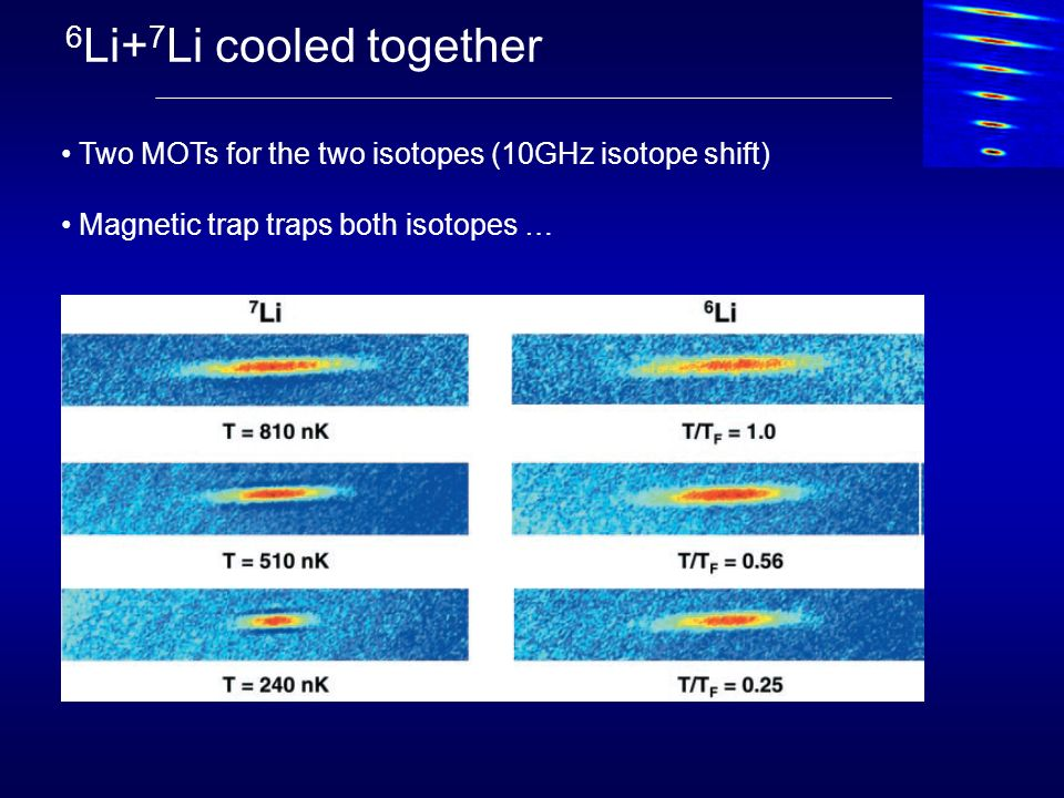 6Li+7Li cooled together Two MOTs for the two isotopes (10GHz isotope shift) Magnetic trap traps both isotopes …
