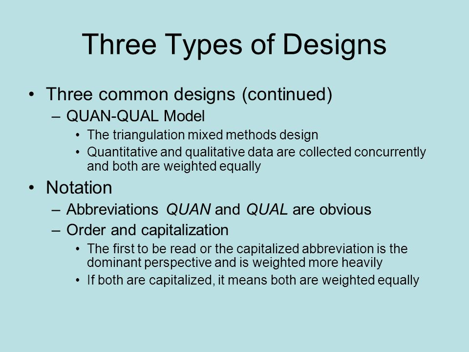Three Types of Designs Three common designs (continued) Notation