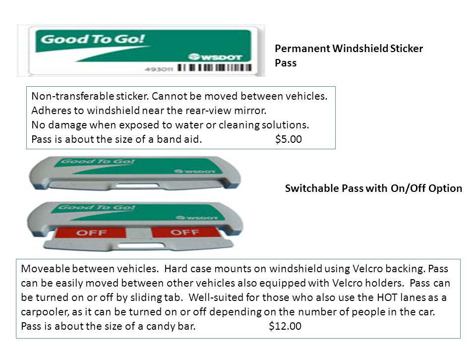 Permanent Windshield Sticker Pass
