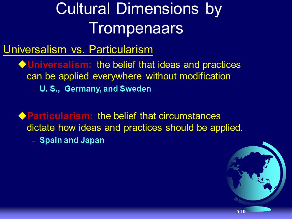 Cultural Dimensions by Trompenaars