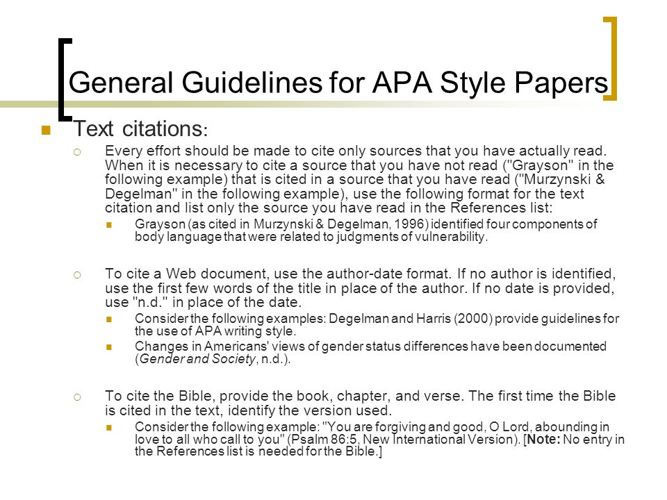 general guidelines for apa style papers