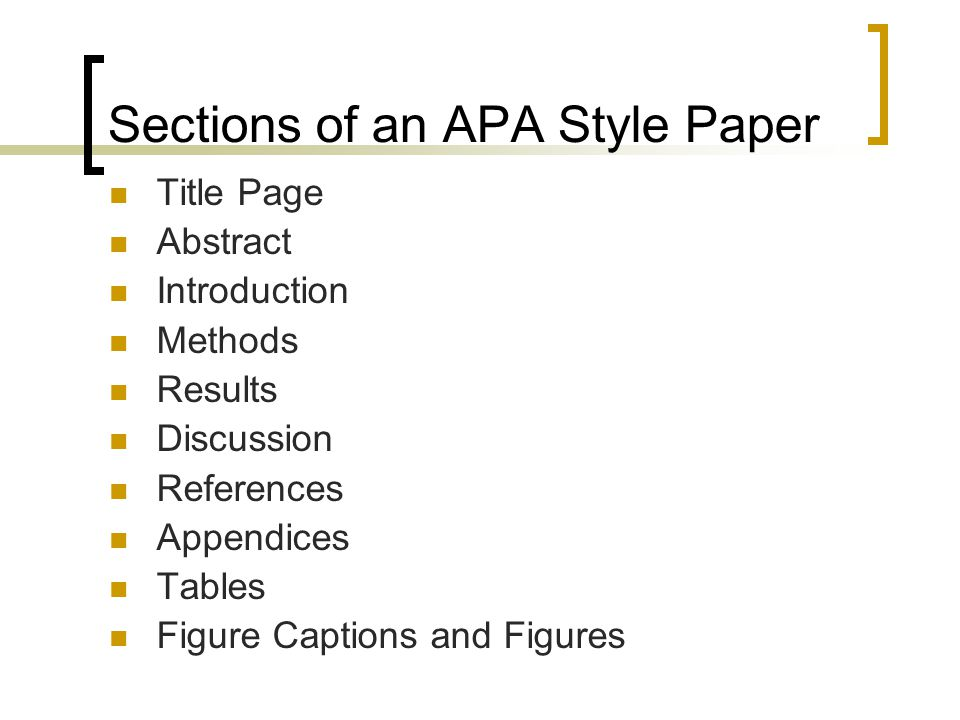 sections of an apa style paper